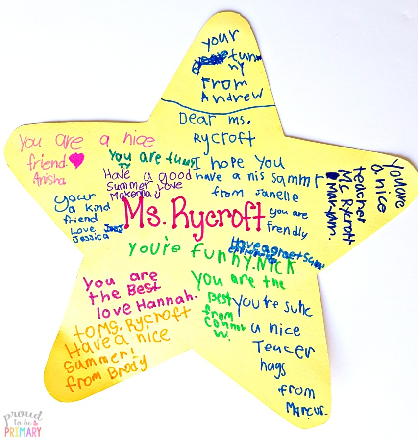 last day of school activity: example of completed goodbye star