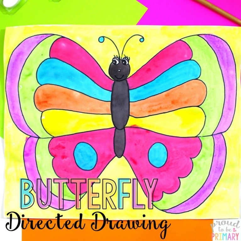 how to draw a butterfly - directed drawing