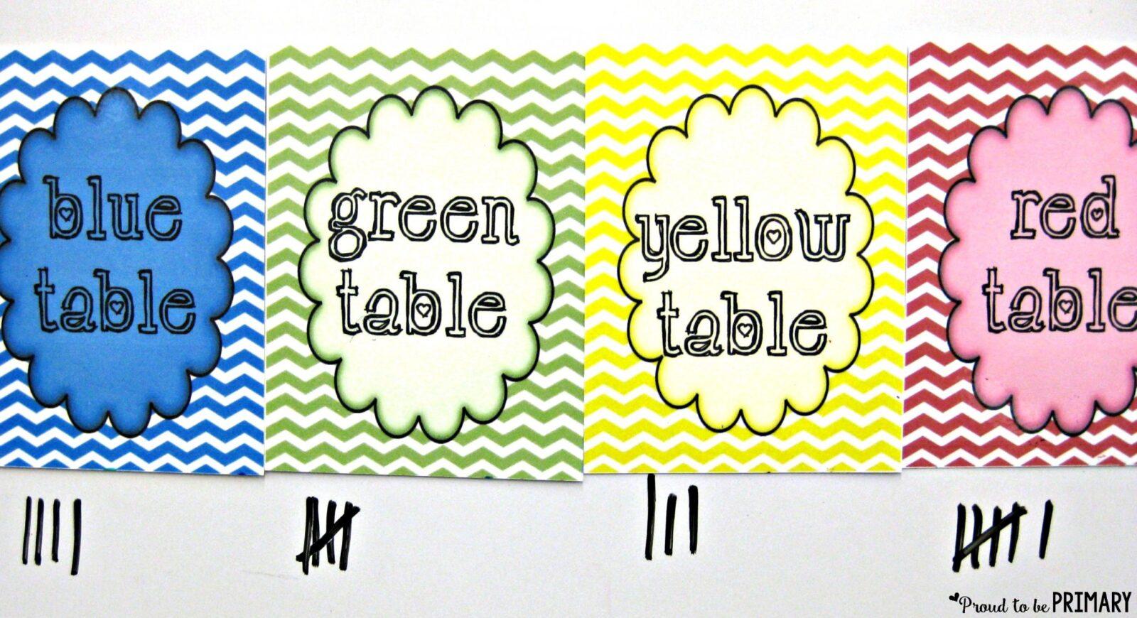 new teachers table set up