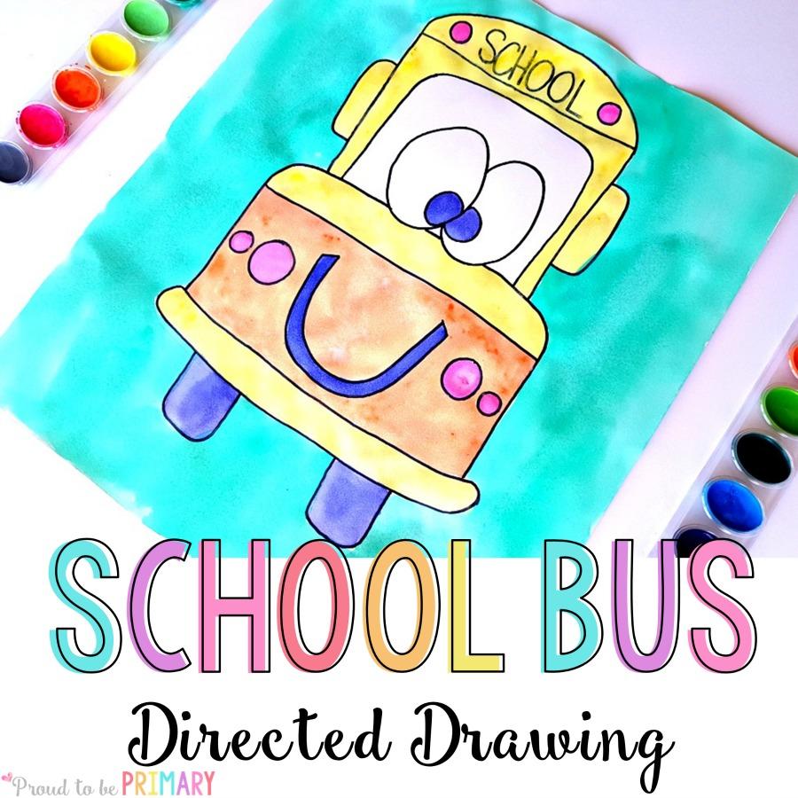 school bus directed drawing activity