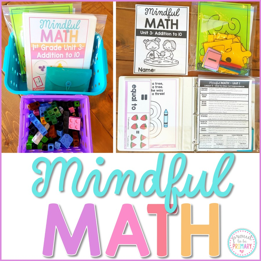Mindful Math Curriculum for First Grade is a comprehensive, guided math curriculum for everyday! It includes simple to prep materials, tons of activities, centers, and games, differentiated worksheets, and whole group lessons. You will teach and cover all the Common Core standards with this program. READ NOW to get the FREE resources!