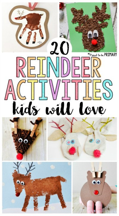 20 reindeer activities for kids they will love! Includes tons of arts & crafts that would make the perfect DIY decorations and ornaments, STEM and math challenges, and other great ideas for Christmas. Make your own Rudolph today!