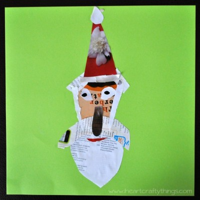 santa out of paper scraps - I heart crafty things