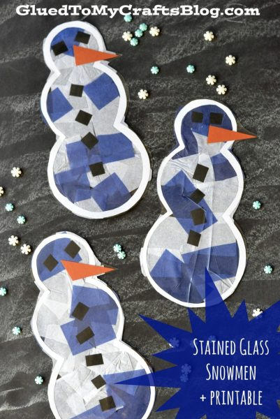 Glued to My Crafts Blog - Stained Glass Snowmen Printable