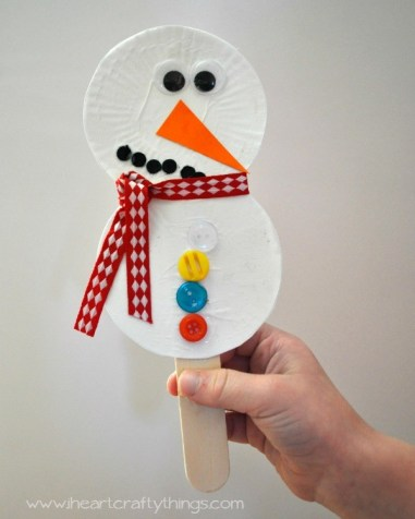 I Heart Crafty Things - Snowman Stick Puppet