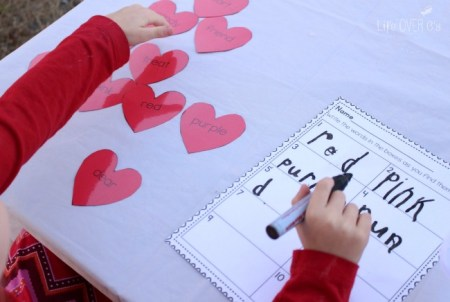 Life over C's - Valentines Day Printable Read and Write Sensory Bin