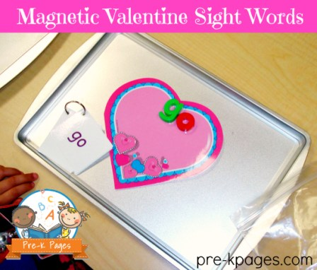 Pre-K Pages - Magnetic Valentine Sight Words