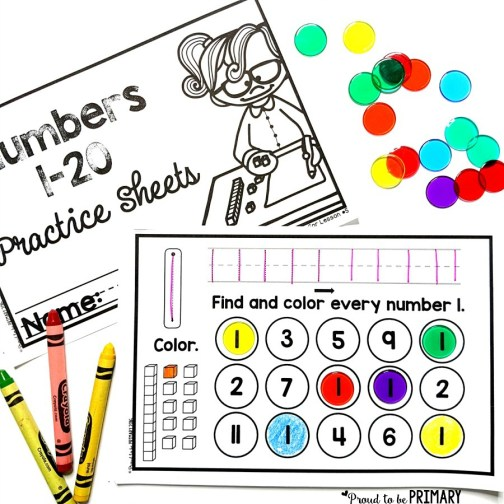 numbers 1 to 20 practice sheets for building number sense to 20