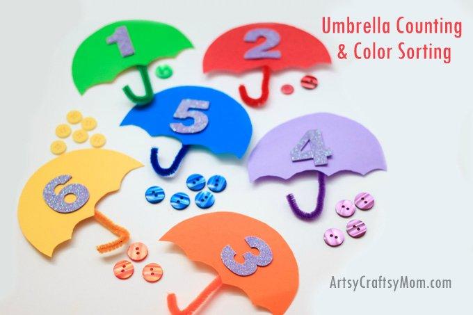 Artsy Craftsy Mom - Umbrella Counting and Color Sorting