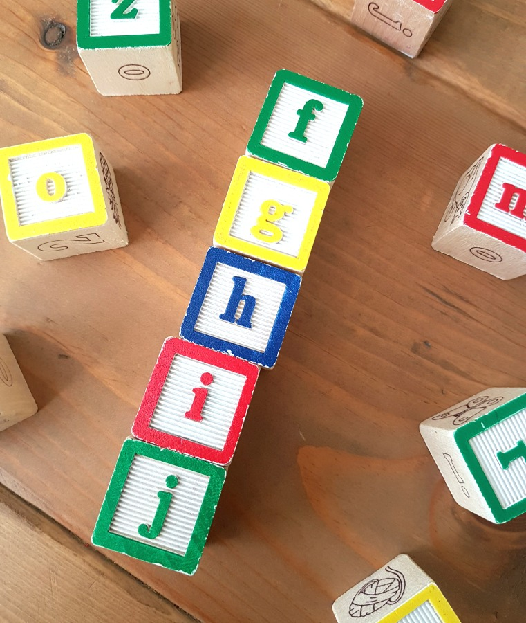 letter recognition - alphabet blocks for hands-on learning of letters