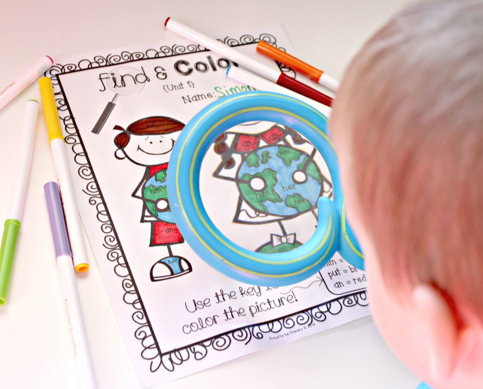 teaching sight words - find and color
