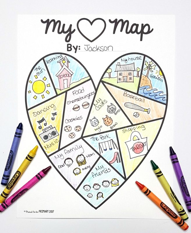 Emotions for Kids: my heart map emotions activity