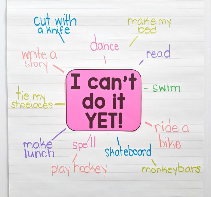 growth mindset examples - I can't do it yet growth mindset activity anchor chart
