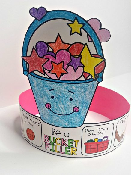 respect books and videos - be a bucket filler hat craft on table