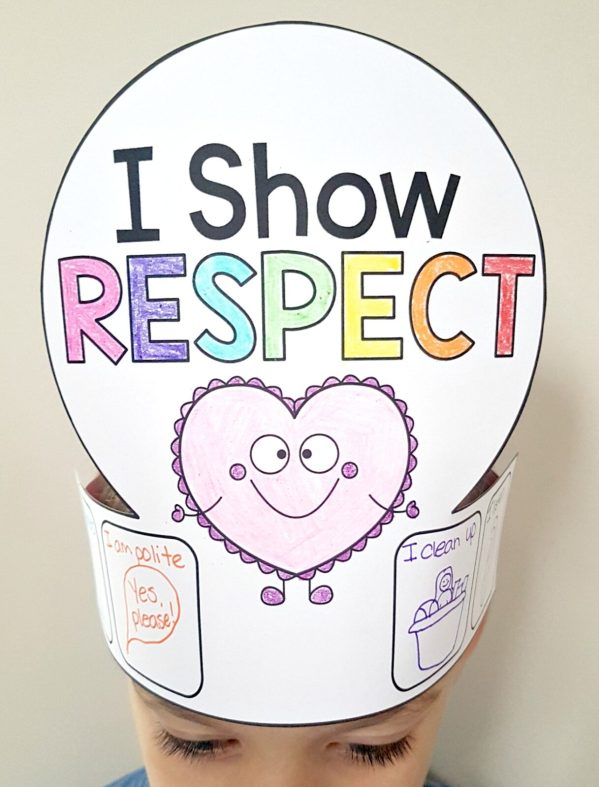 respect activities - I show respect hat craft with examples on head of child