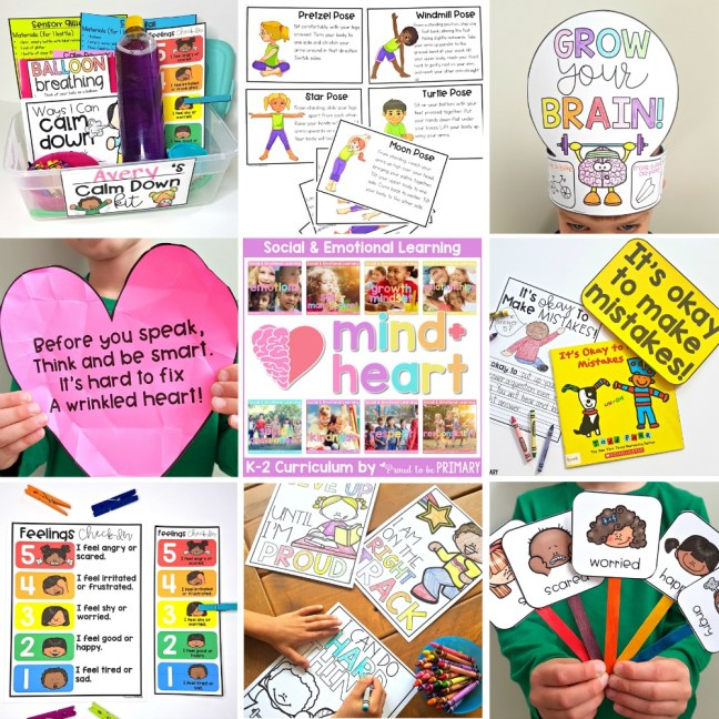 collage of educational resources for social emotional learning