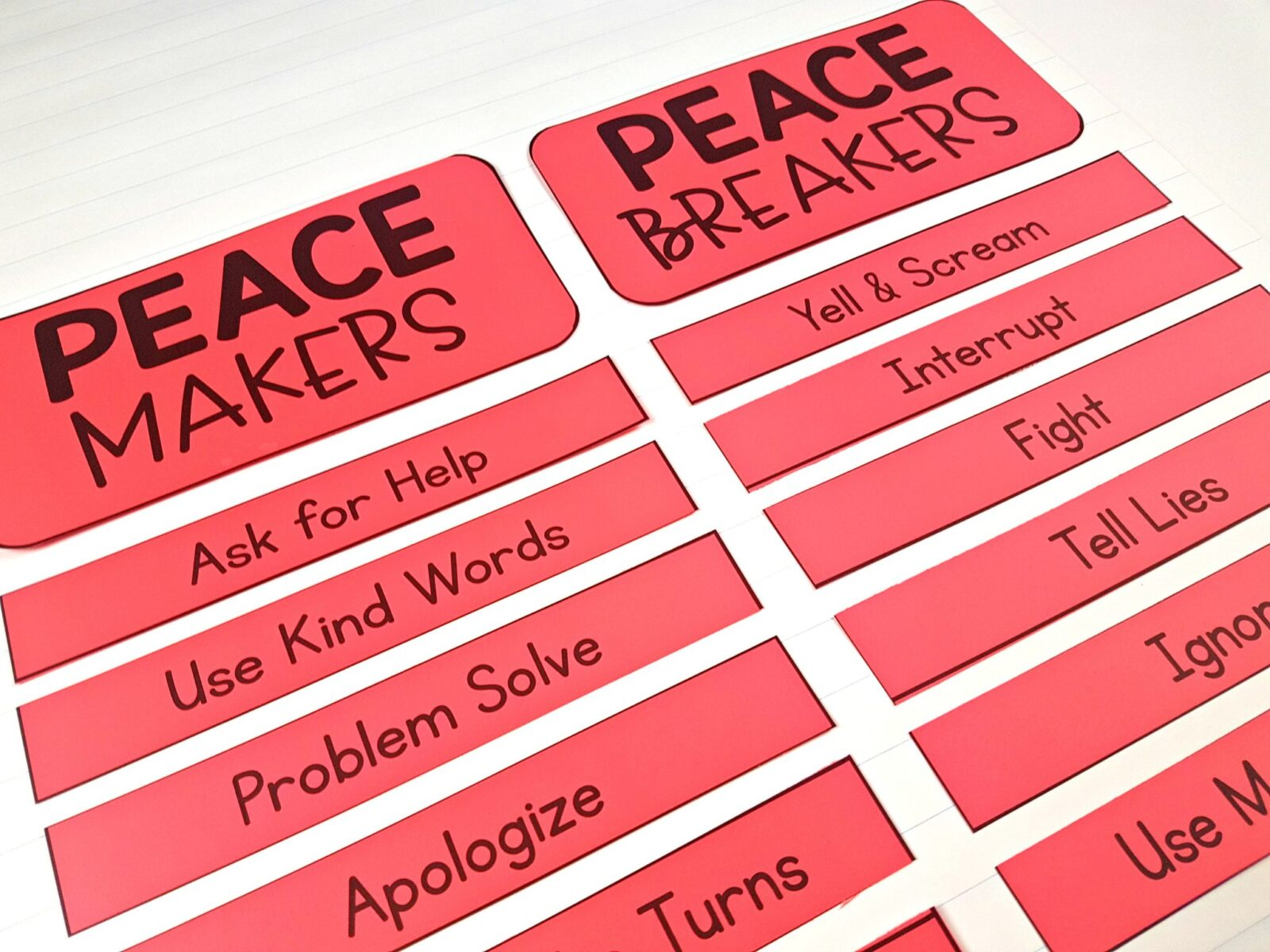 conflict resolution activities - peace makers and peace breakers sorting cards