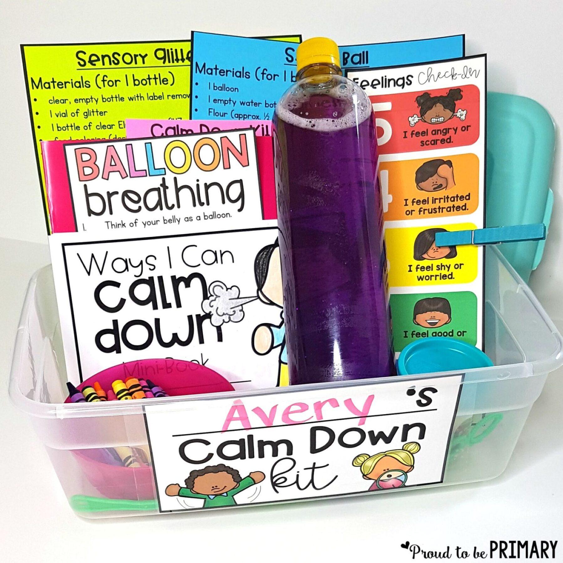 classroom management tools- calm down kit
