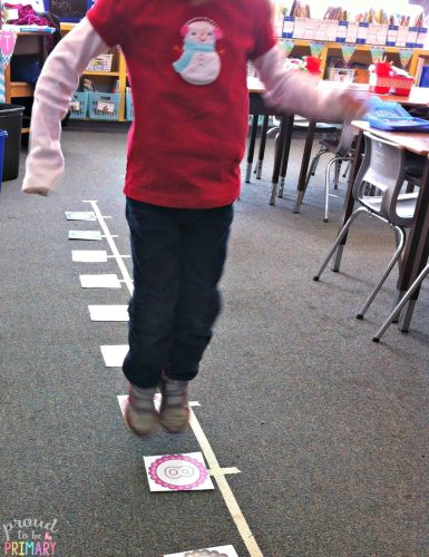 human number line math game - proud to be primary