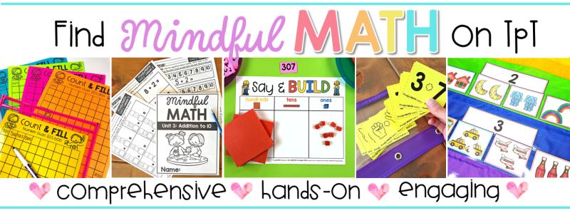 mindful math curriculum for kindergarten, first grade, and second grade