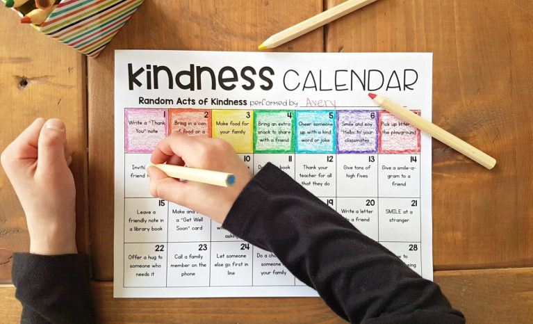 kindness calendar as a social emotional learning game