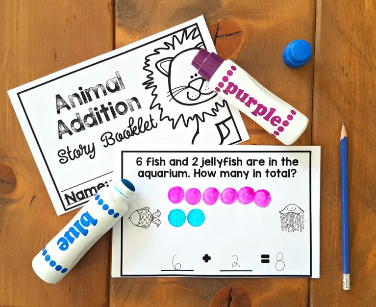 animal addition story problem booklet