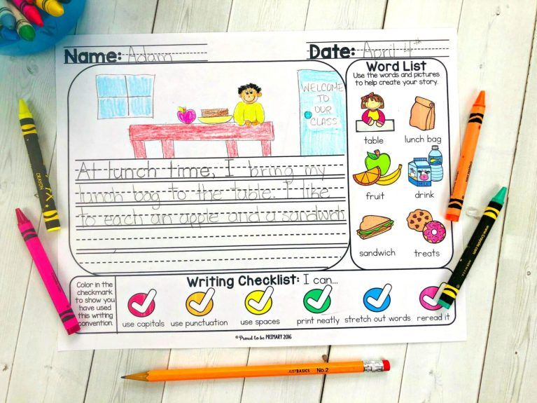 writing prompts and word list for kids