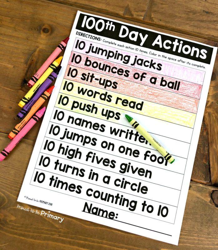 100 days of school activities sheet to complete