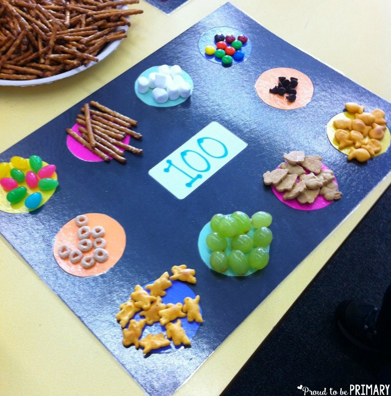 sort a hundred day snack in groups of 10 on a mat