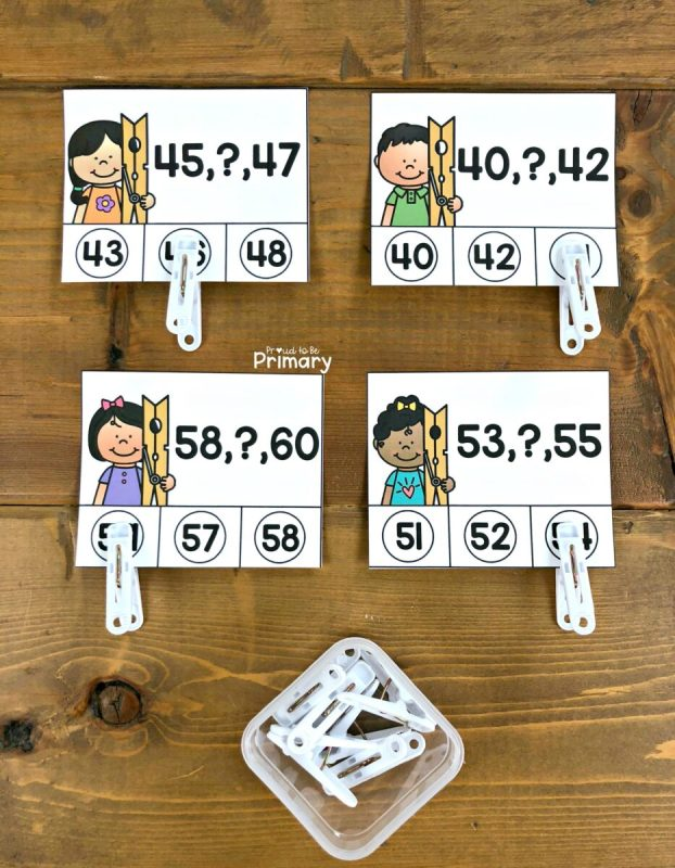 number order to 100 clip card math center