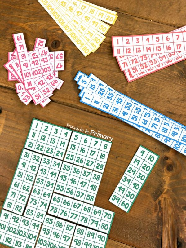 hundred chart puzzles for numbers to 100