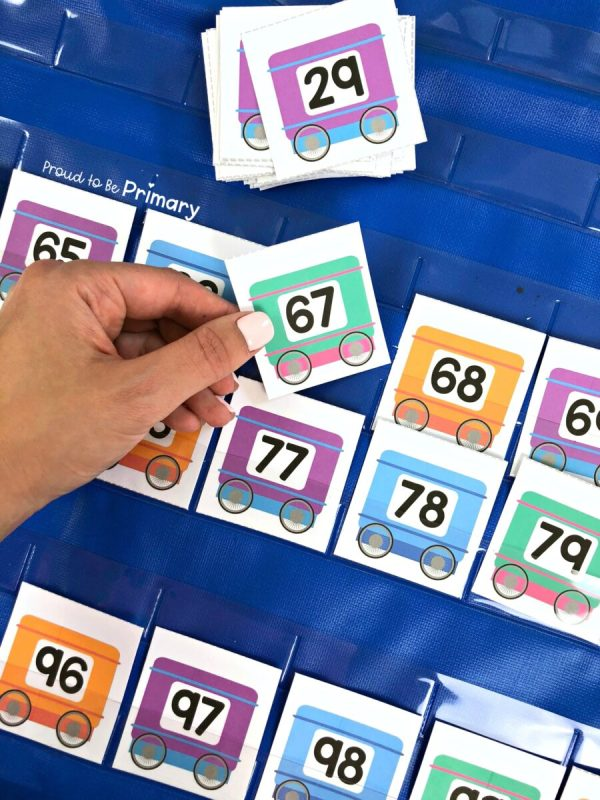 number train cards to 100 for pocket chart activity