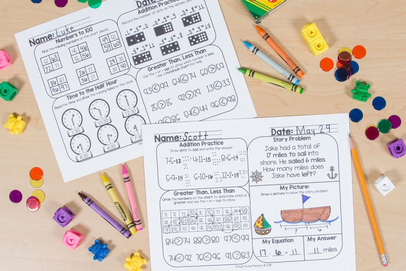 telling time activity - first grade math review practice mats