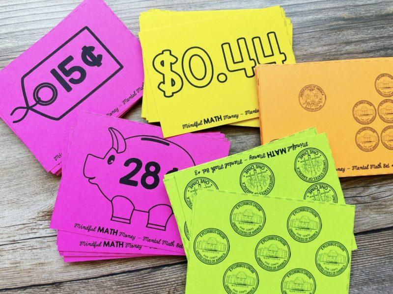 money flash cards - mindful math