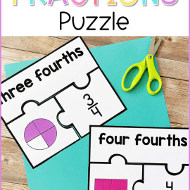 free printable fractions puzzle math center