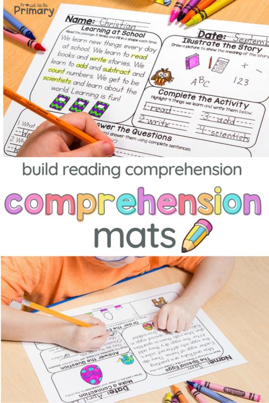 reading comprehension strategies - use printable comprehension activity mats