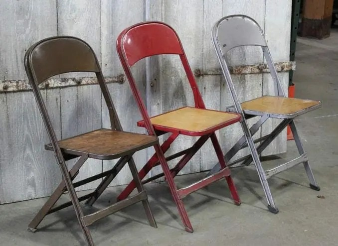 chair steel folding rent tables and chairs for wedding clarin i a durable classic vintage frame with wooden seat label reads mfg co chicago u s provenance salvaged these from philadelphia