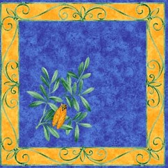 Yellow Kitchen Accessories Popular Paint Colors For Kitchens Provence Print Fabric Tea Towel (cicada. Blue) Provencal ...