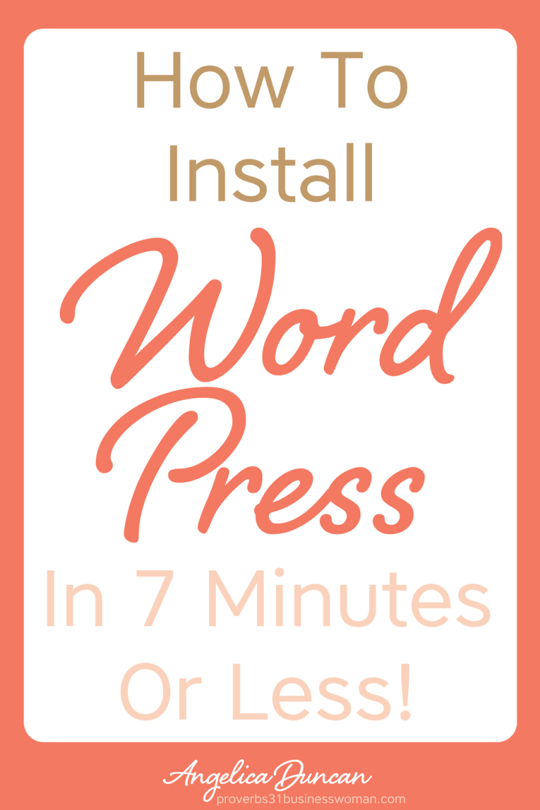 A blog is not a blog without WordPress. You're going to learn how to install WordPress in 7 Minutes OR LESS! Yep...it's that easy! #blogging #startablog #blogger #chrisitanblogger #wordpress #website #mompreneur #onlinebusiness #wahm #womeninbusiness #christianbusiness #christianwomeninbusiness #christianentrepreneurs #proverbs31 #proverbs31woman #proverbs31businesswoman #proverbs31enrepreneur #p31 #silkoversteel #sos #angelicaduncan
