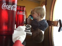 Lunch by himself with daddy