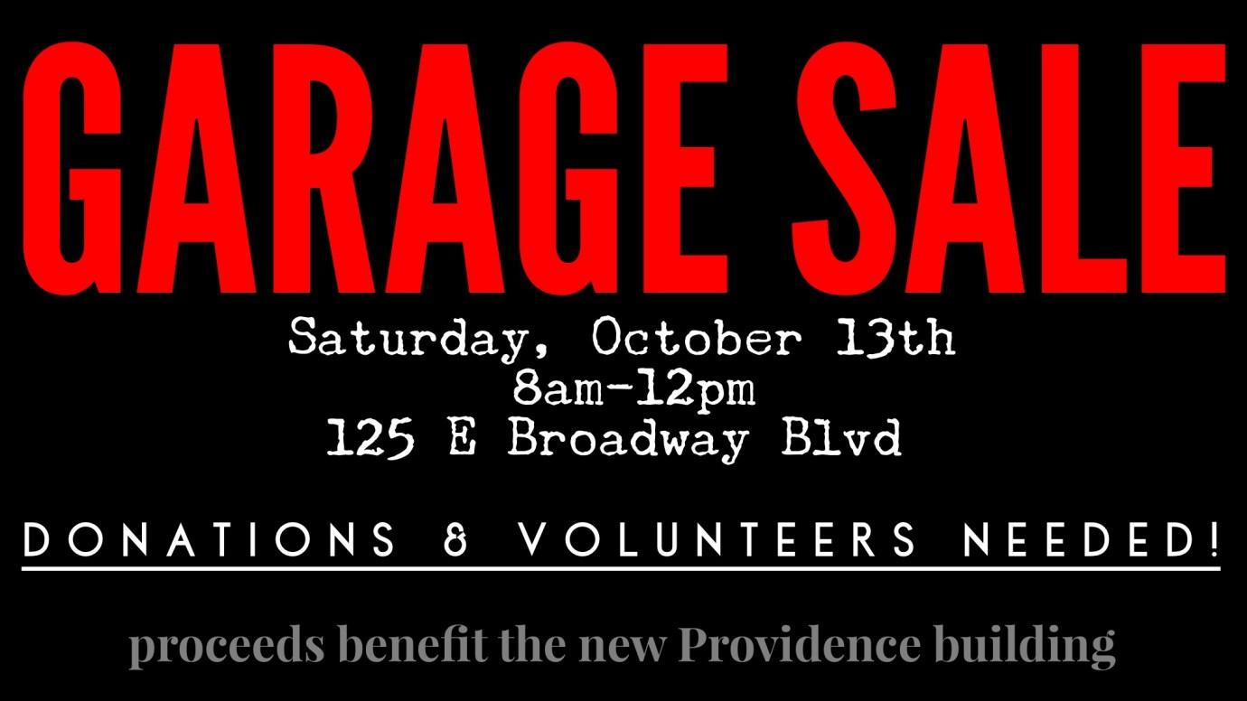 Church Garage Sale – Providence Church