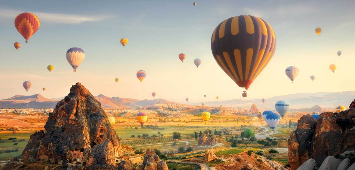 hot air balloons and mountains looking over green pastures