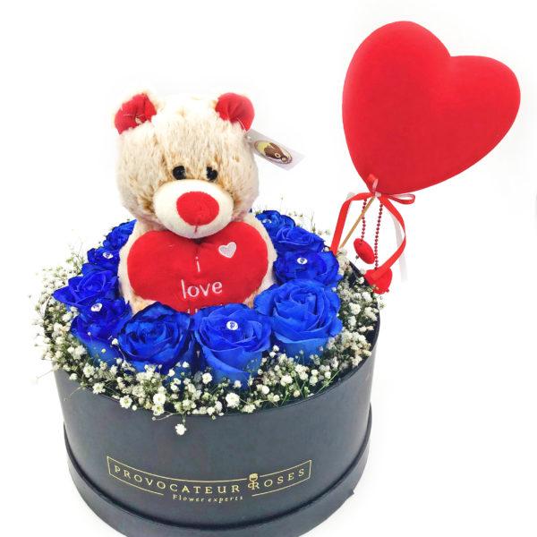 Caja-Rosas-Azules-+Peluche-+-Corazon-glovo