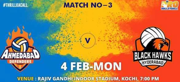 Ahmedabad Defenders vs Black Hawks Hyderabad Match 3 Live streaming