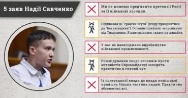 Заяви Надії Савченко були неправдивими чи маніпулятивними