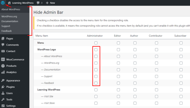 Hide Admin Menu Screenshot