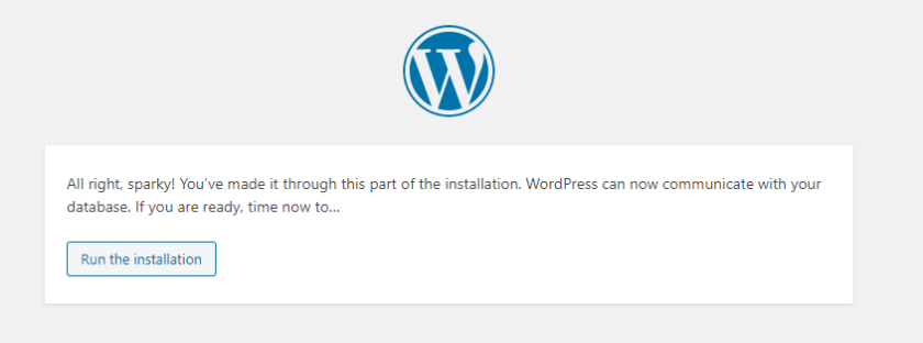 Run the WordPress installation