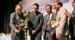 Chief Minister of Manipur Okram Ibobi Singh inaugurating 5th ITM in presence of Union Tourism Secretary Vinod Zutshi in Imphal Manipur