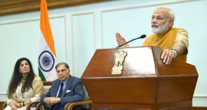 Narendra Modi addressing the audience of doctors and students of Tata Memorial Centre, via video conferencing, after releasing the Platinum Jubilee Milestone book on Tata Memorial Centre, in New Delhi on May 25, 2017.