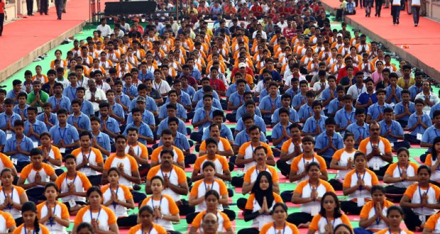People participating in the full dress rehearsal ahead of the Prime Minister's event on the International Day of Yoga 2017, at Ramabai Ambedkar Maidan, in Lucknow on June 19, 2017.